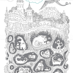 Stay at Home. Quarantine isolation Covid-19 humor concept. Adults coloring book page, tee shirt print, contour thin line illustration. Fairy tale castle, old medieval town, Dragon beast cave underground nest. Black and white hand drawn sketch